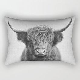 Highland Cow - Black & White Rectangular Pillow