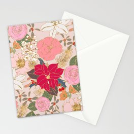 Elegant Golden Strokes Colorful Winter Floral Stationery Cards