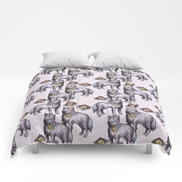 wolves eating pizza pattern Comforters
