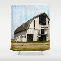 country Shower Curtains featuring country barn by Sylvia Cook Photography