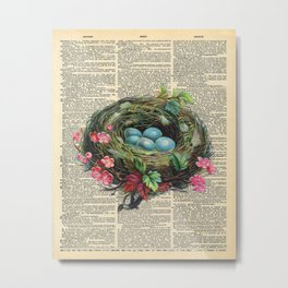 Bird Nest on Dictionary Page Metal Print
