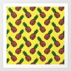 Neo-Pineapple - Mellow Yellow Art Print