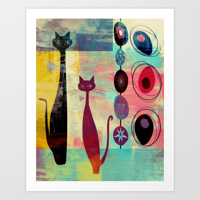 MidMod 2 Cats Graffiti Art Print
