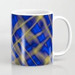 Bright metal mesh with blue intersecting diagonal lines. Coffee Mug