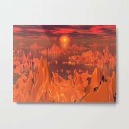 Space Islands of Orange Metal Print