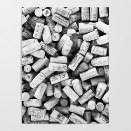 Something Nostalgic II Twist-off Wine Corks in Black And White #decor #society6 #buyart Poster