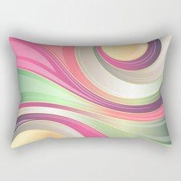 Abstract Swirls and Circles Pastel Retro Design Rectangular Pillow