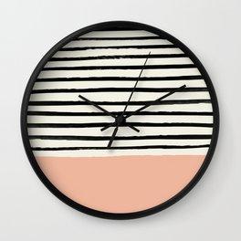 Peach x Stripes Wall Clock