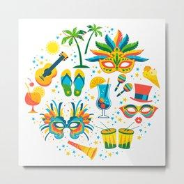 Colorful Brazilian Carnaval mandala Metal Print