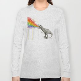 T-Rex Dinosaur Rainbow Puke Taste the Rainbow Watercolor Long Sleeve T-shirt