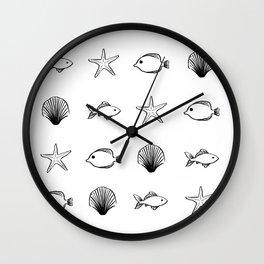 Sea Creatures Pattern - Black Wall Clock