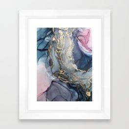 Blush, Payne's Gray and Gold Metallic Abstract Framed Art Print