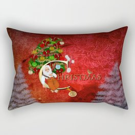 Christmas, Santa Claus with christmas tree Rectangular Pillow