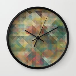 Chic Abstract Retro Triangles Mosaic Pattern Wall Clock