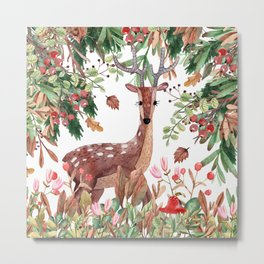 Art Watercolor, Cute, Deer and Forest, Floral Prints Metal Print