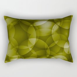 Dark intersecting translucent olive circles in bright colors with an oily glow. Rectangular Pillow