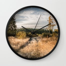 Autumn scene - road to the forest Wall Clock