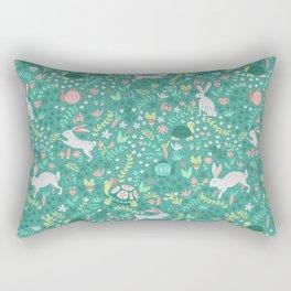 Spring Pattern of Bunnies with Turtles Rectangular Pillow