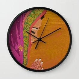 Henna Prayer Hands Wall Clock