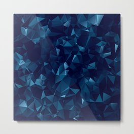 Dark Blue Polygonal Geometric Abstract Metal Print