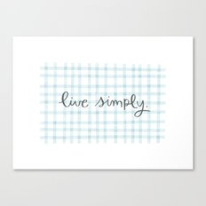 Live Simply Gingham Canvas Print