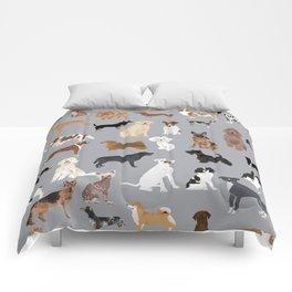 Mixed Dog lots of dogs dog lovers rescue dog art print pattern grey poodle shepherd akita corgi Comforters