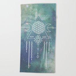 Mandala Flower of Life in Turquoise Stars Beach Towel