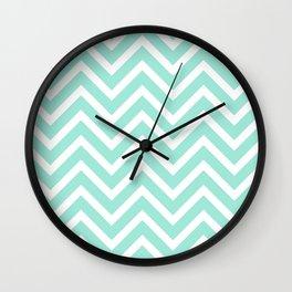 Chevron Stripes : Seafoam Green & White Wall Clock