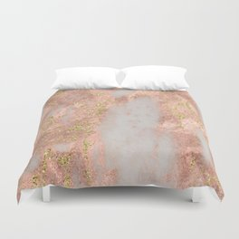 Rose Gold Marble with Yellow Gold Glitter Duvet Cover