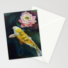 Koi and Lotus Flower Stationery Cards