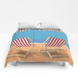 Florida Vintage Travel Poster Comforters