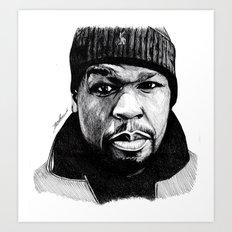 50 Cent Pen Drawing Art Print