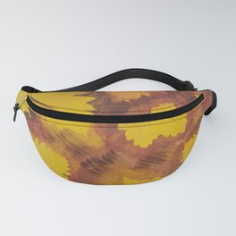 Yellow Autumn Leaf and a red pear painting Fall pattern inspired by nature colors Fanny Pack