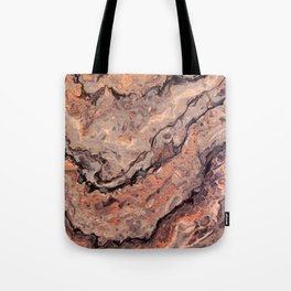Rose Gold, Black, Grey, and White Paint Pour Waves Tote Bag
