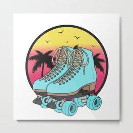 Retro roller skates Metal Print