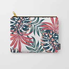 Botanical seamless tropical pattern with bright plants and leaves on a white background. Exotic jungle wallpaper. Trendy summer Hawaii print. Summer colorful hawaiian. Carry-All Pouch