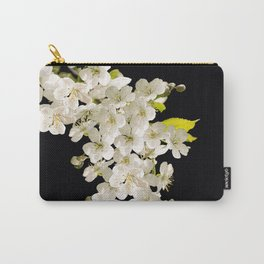 Cherry Flowers On Black Background #decor #society6 #buyart Carry-All Pouch