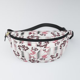red flowers on a white background in a cage. Fanny Pack