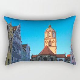 The Market Square (Markt) and the Church of Our Lady (Frauenkirche) in Meissen, Germany Rectangular Pillow