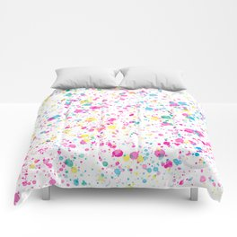 Spring Happy - Bright Color Paint Splatter Comforters