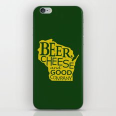 Green and Gold Beer, Cheese and Good Company Wisconsin iPhone & iPod Skin