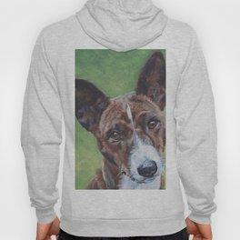 beautiful Basenji dog portrait art painting by L.A.Shepard Hoody
