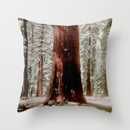 Vintage Sequoia National Park Illustrative Poster (1919) Throw Pillow
