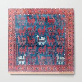 25 Peacocks Baluch Khorasan Persian Bag Face Print Metal Print