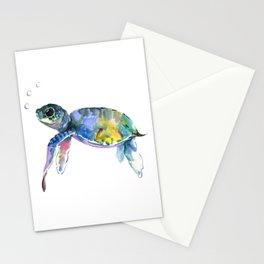 Sea Turtle, children artwork Illustration Stationery Cards