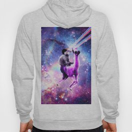 Laser Eyes Outer Space Cat Riding On Llama Unicorn Hoody