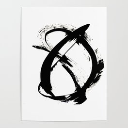 Brushstroke [7]: a minimal, abstract piece in black and white Poster