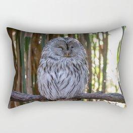 Ural owl resting on a branch Rectangular Pillow