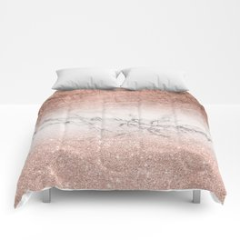 Modern faux rose gold glitter and foil ombre gradient on white marble color block Comforters