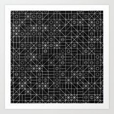 Black and White Random Grid Art Print